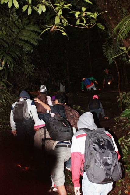 trekking through the forest at night to the top of the mountain. (photo: joko guntoro)